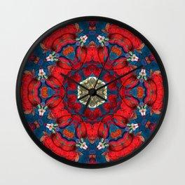 mandala 10 red blue #mandala Wall Clock