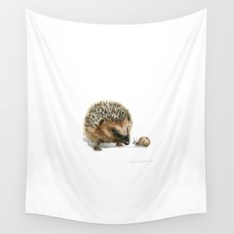 """""""Close Encounter"""" painting of a Hedgehog and Snail by Teresa Thompson Wall Tapestry"""