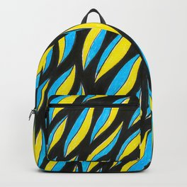 Yellow Blue Pattern Backpack