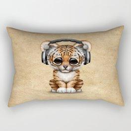 Cute Tiger Cub Dj Wearing Headphones Rectangular Pillow
