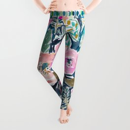 GARDENS OF CAPITOLA Watercolor Floral Leggings