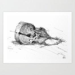 Contrabass resting Art Print