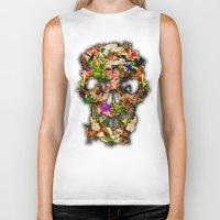 animal skull Biker Tanks featuring Floral Flower animal skull kingdom by KomarWork