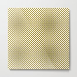 Golden Olive and White Polka Dots Metal Print