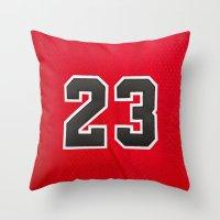 chicago bulls Throw Pillows featuring Michael 23 Jordan Chicago Bulls by Rorzzer