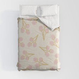 Sweet Cotton Stems - Botanical Pattern in Mustard Pink Off-White Comforters