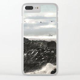 Pelicans Ocean Fishing Oregon Coast Landscape Clear iPhone Case