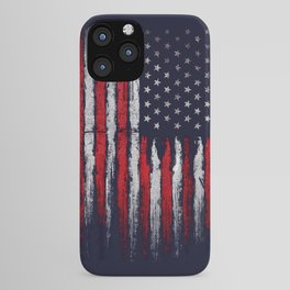 Red & white American flag on Navy ink iPhone Case