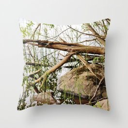 Deadwood on the beach Throw Pillow