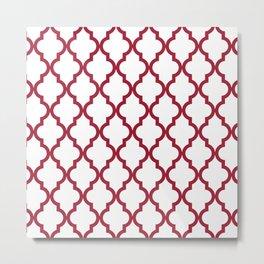 Crimson Red Moroccan Pattern Metal Print