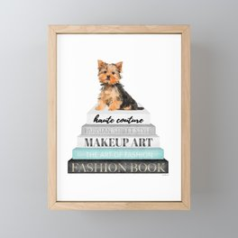 Yorkie, Books, Fashion books, Gray, Teal, Fashion, Fashion art, fashion poster, fashion wall art, Framed Mini Art Print