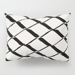 Modern Diamond Lattice Black on Light Gray Pillow Sham