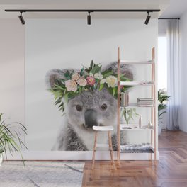 Baby Koala With Flower Crown, Baby Animals Art Print By Synplus Wall Mural