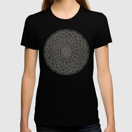Gray Circle of Life Mandala on White T-shirt