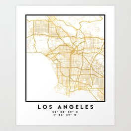 LOS ANGELES CALIFORNIA CITY STREET MAP ART Art Print