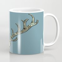 antlers Mugs featuring Antlers by Rachel Russell