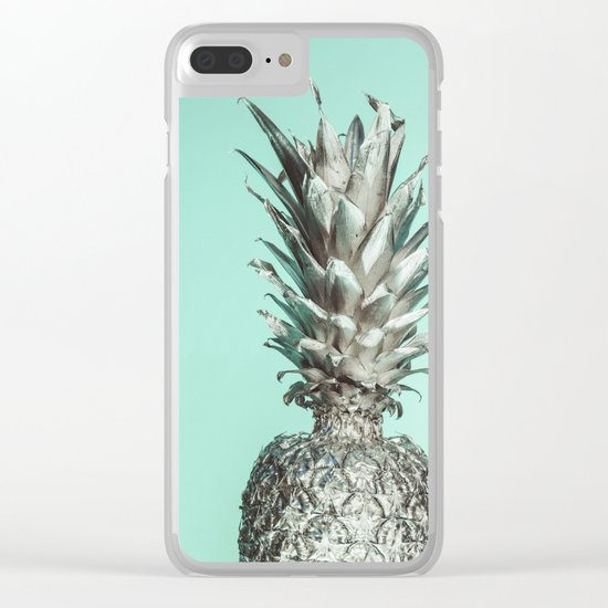 Silver Mint Pineapple Clear iPhone Case