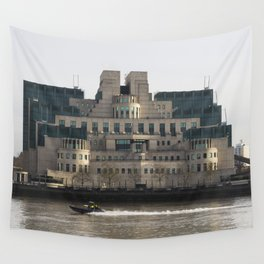 SIS Secret Service Building London And Rib Boat Wall Tapestry