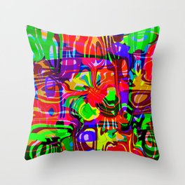 Explosive smudges of mysterious infinity from green lines and a violet square cycle. Throw Pillow