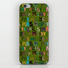 green merry christmas and happy new year iPhone & iPod Skin