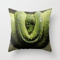 monty python Throw Pillows featuring Python by Katherine Ridgley