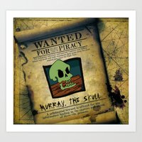 monkey island Art Prints featuring Monkey Island - WANTED! Murray, the Skull by Sberla