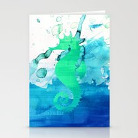 seahorse Stationery Cards featuring Seahorse by Sara Eshak