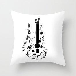 I love my guitar Throw Pillow