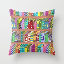 Colorful books on shelves Throw Pillow