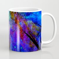decal Mugs featuring Colorful forest by haroulita