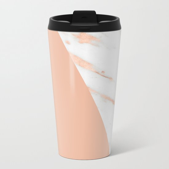 Marble Geometric Rose Gold Pink Quartz Metal Travel Mug