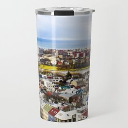 Aerial View of Rainbow Roof Houses and Apartments in Reykjavik, Iceland Travel Mug