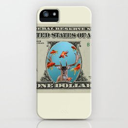 One Dollar note animal reindeer with goldfishes iPhone Case