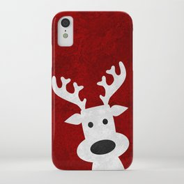 Christmas reindeer red marble iPhone Case