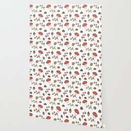 cute lovely autumn pattern with branches, leaves, mushroom, acorns, chestnuts Wallpaper