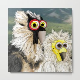 series: Old World Vultures - Gypaetus barbatus and Neophron percnopterus Metal Print