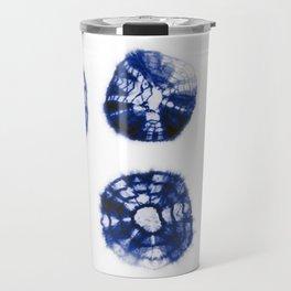 Shibori Kumo dots blue & white aligned Travel Mug