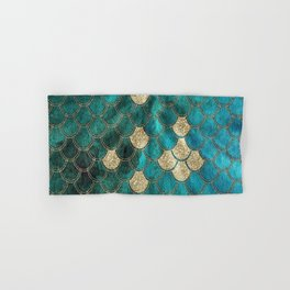 Multicolor Aqua And Gold Mermaid Scales -  Beautiful Abstract Pattern Hand & Bath Towel