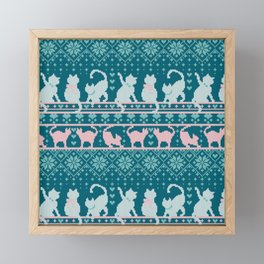 Fair Isle Knitting Cats Love // teal white and pink kitties Framed Mini Art Print