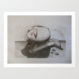 Cerdito hucha Art Print