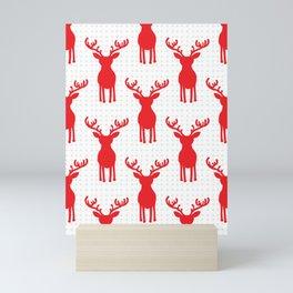 Red Reinedeers on white background -pattern Mini Art Print
