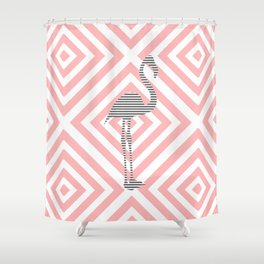 Flamingo - Abstract geometric pattern - pink and white. Shower Curtain
