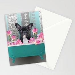 Turquoise Bathtub - French Bulldog Lotus Flower Stationery Cards