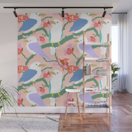 Kookaburra Birds + Little Kurrajong Flowers Wall Mural