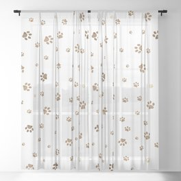 Trace brown doodle paw prints seamless pattern background Sheer Curtain