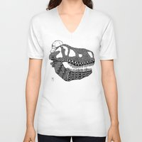 t rex V-neck T-shirts featuring T-rex by Surfing Shaman