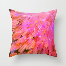 SEA SCALES IN PINK - Hot Pink Feminine Beach Ocean Waves Feathers Abstract Acrylic Painting Fine Art Throw Pillow