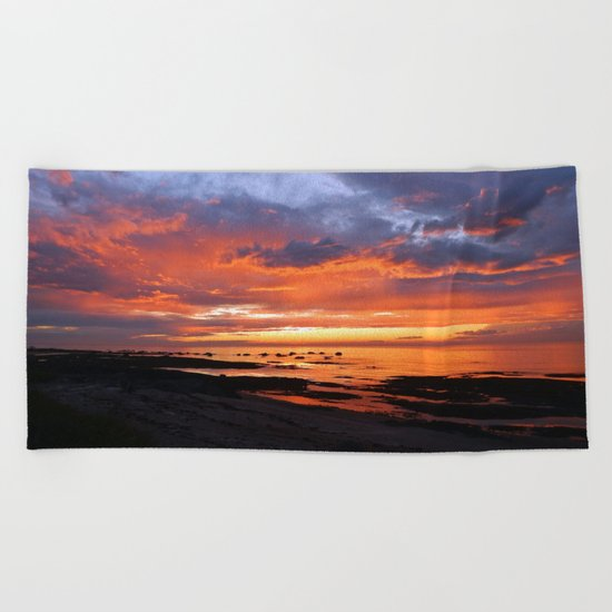 Stunning Seaside Sunset Beach Towel