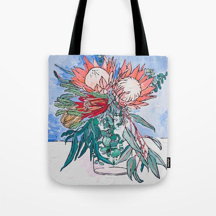 Painterly Vase of Proteas, Wattles, Banksias and Eucayptus on Blue Tote Bag