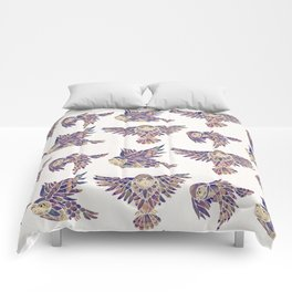 Owls in Flight – Mauve Palette Comforters
